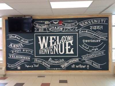 Welcome Wall - Mural Painting, School & Library Murals, York Region, Ontario